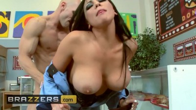 Big tit cop Audrey Bitoni wants 2 donnuts with a large cock