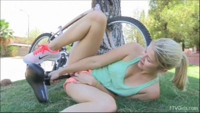 Hot blonde Ellery Corrin masturbating with bicycle seat