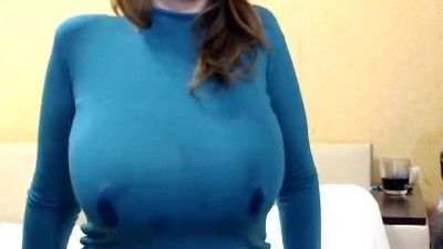 Busty redhead's Big Boobs Show
