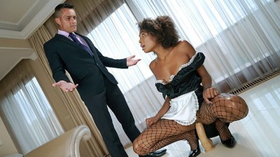 Hot Latina Fucks in Silk Black Maid Outfit