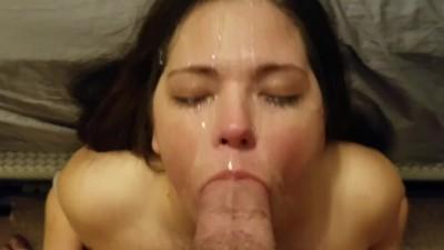 Amateur Sucks Big Cock for a Messy Facial Cumshot