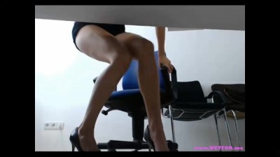 Office Lady Playing at Work with Ohmibod