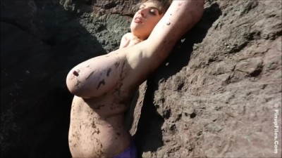 Lana Kendrick getting Muddy with her Gigantic Boobs Public
