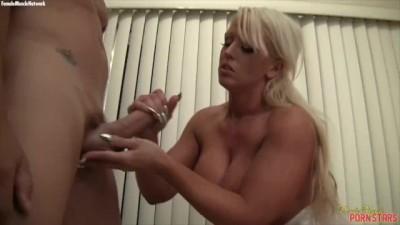 Muscular Porn Star Alura  Jenson Handjob Cumshot