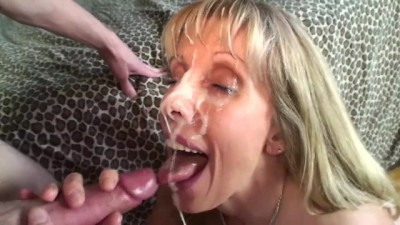 Petite MILF Gets her Face Covered by an 19 YO Boy!